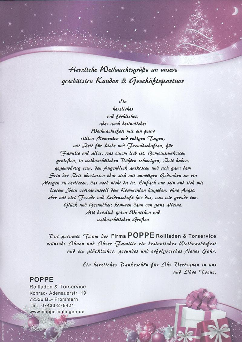 Weihnachtsgrüße An Erzieherinnen.Poppe Rollladen Torservice